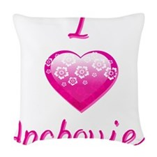 I Love/Heart Anchovies Woven Throw Pillow
