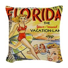 Vintage Florida Vacation Land Woven Throw Pillow