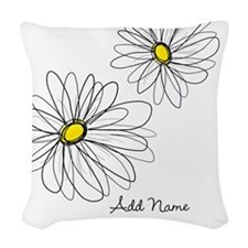 Modern Whimsical Daisies Woven Throw Pillow