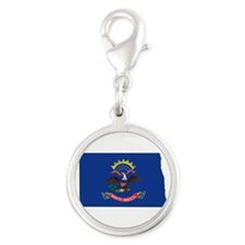 North Dakota Flag Silver Round Charm