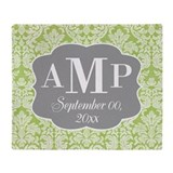Lace Monogram Wedding - green Throw Blanket