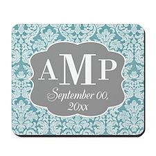 Lace Monogram Wedding - blue Mousepad