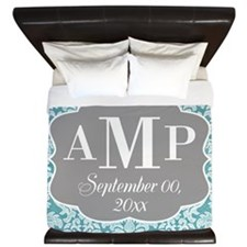 Lace Monogram Wedding - blue King Duvet