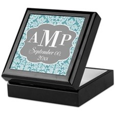 Lace Monogram Wedding - blue Keepsake Box