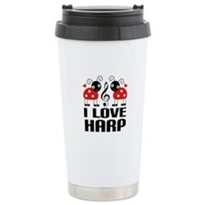 I Love Harp Ladybug Ceramic Travel Mug