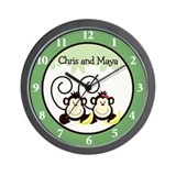 Chris and Maya Twin Monkey Clock Wall Clock