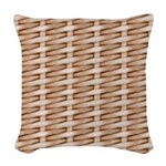 Brown Wicker Look Woven Throw Pillow