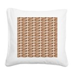 Brown Wicker Look Square Canvas Pillow