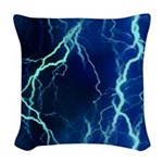 Cyan Lightning Look Woven Throw Pillow