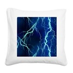Cyan Lightning Look Square Canvas Pillow