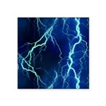 Cyan Lightning Look Square Sticker 3