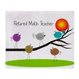 retired Math teacher retro birds Throw Blanket