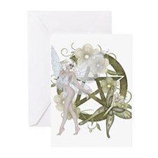 Beautiful fairy with pentacle Greeting Cards (Pk o