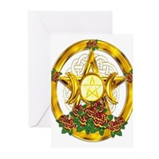 Gold Pentacle with Roses Greeting Cards (Pk of 20)