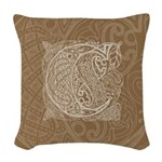 Celtic Letter C Woven Throw Pillow