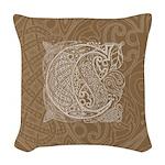 Celtic Letter C Woven Throw Pillow