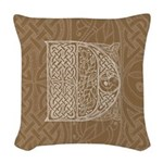 Celtic Letter D Woven Throw Pillow