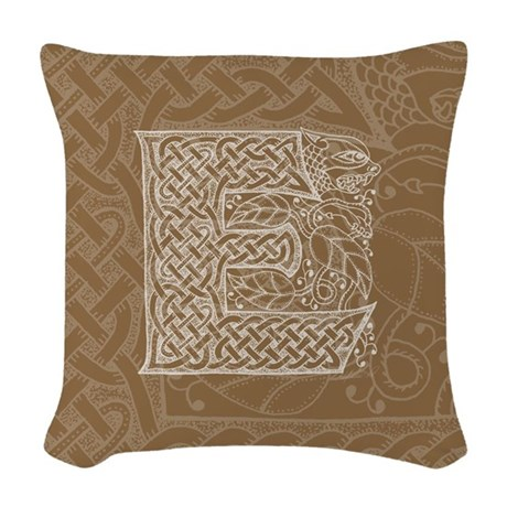 Celtic Letter E Woven Throw Pillow