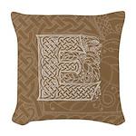Celtic Letter E Woven Throw Pillow