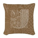 Celtic Letter J Woven Throw Pillow