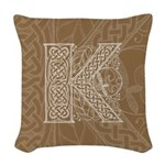 Celtic Letter K Woven Throw Pillow
