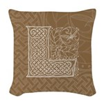 Celtic Letter L Woven Throw Pillow