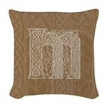 Celtic Letter M Woven Throw Pillow