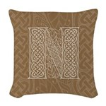 Celtic Letter N Woven Throw Pillow