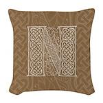 Celtic Letter N Woven Throw Pillow