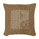 Celtic Letter P Woven Throw Pillow