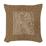 Celtic Letter R Woven Throw Pillow