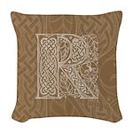 Celtic Letter R Woven Throw Pillow