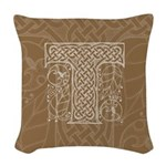 Celtic Letter T Woven Throw Pillow