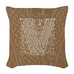 Celtic Letter V Woven Throw Pillow