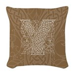 Celtic Letter Y Woven Throw Pillow