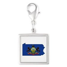 Pennsylvania Flag Silver Square Charm