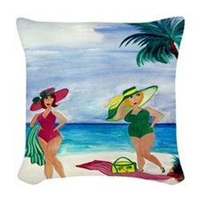 BEACH BABES Woven Throw Pillow