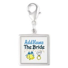 LOVELY BRIDE Silver Square Charm
