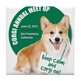 SF Corgi Meet Up Tile Coaster