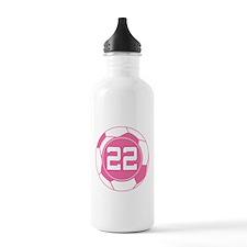 Soccer Number 22 Custom Player Water Bottle