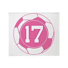 Soccer Number 17 Custom Player Throw Blanket
