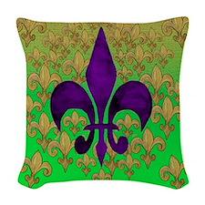 Purple and Gold fleur de lace Woven Throw Pillow
