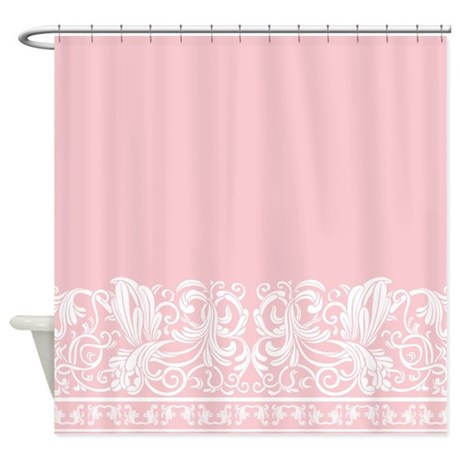 Turquoise And White Curtains Pretty Pink Shower Curtain