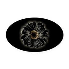 Black Daisy Oval Car Magnet