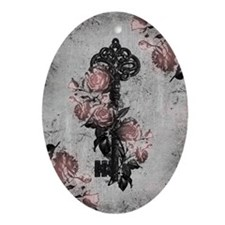 Gothic Key And Roses Ornament (Oval)