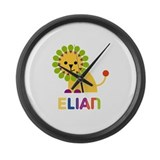 Elian Loves Lions Large Wall Clock