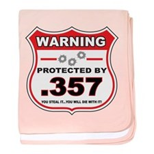 protected by 357 shield baby blanket
