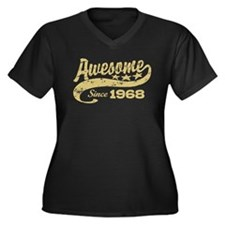 Awesome Since 1968 Women's Plus Size V-Neck Dark T