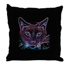 Glowing Cat Throw Pillow