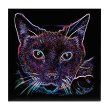 Glowing Cat Tile Coaster